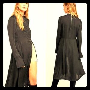 Free People New Day Embroidered Black Tunic